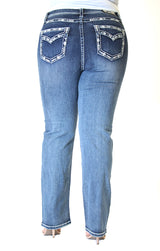Border Stitched Embellished Flap Pocket Plus Size Straight Jeans | PS-81361