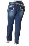 Cross Wing Embellished Junior Bootcut Jeans | JB-71162