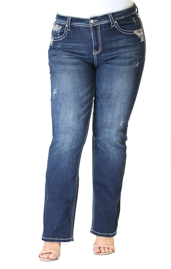 Border Arrow Embellished Flap Pocket Plus Size Straight Jeans | PS-81392