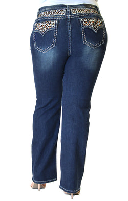 Leopard Print Embroidered Yoke and Flap Pocket Plus Size Straight Jeans | PS-81394