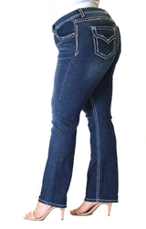 Dark Wash Border Stitched Flap Pocket Plus Size Straight Jeans | PS-81396