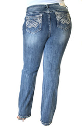 Diamond Embellished Plus Size Straight Jeans | PS-S184