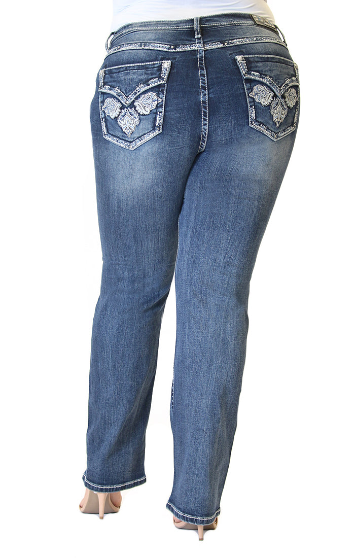 Cross Embellished Flap Pocket Plus Size Straight Jeans | PS-S221