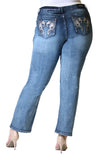 Silver Floral Embellished Plus Size Straight-Leg Jeans | PS-2308