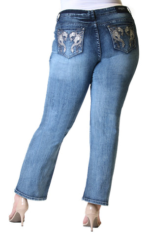 Western Embellished Plus Size Straight-Leg Jeans | PS-51321