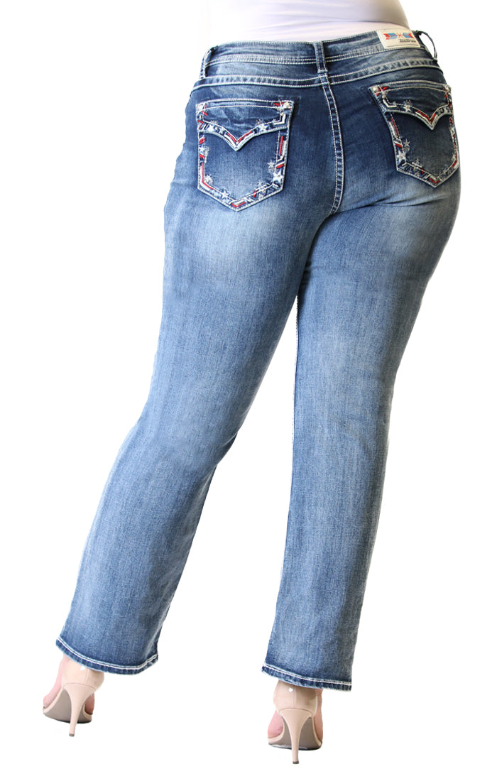 Americana Embellished Flap Pocket Plus Size Straight Jeans | PS-3267