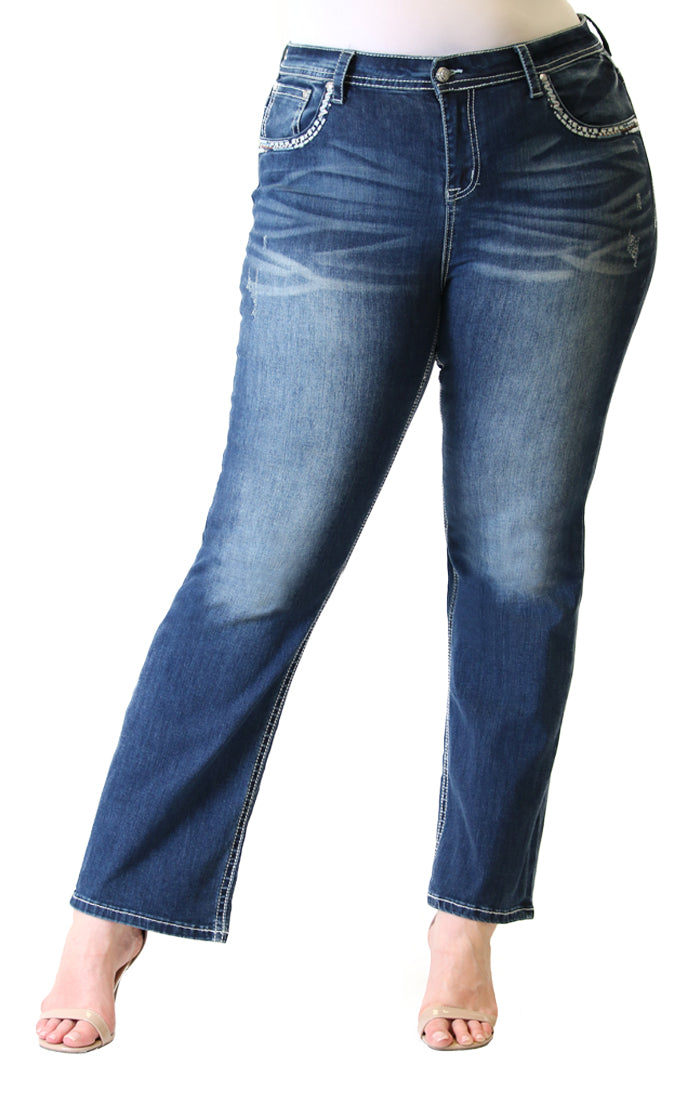 Aztec Motif Embellished Plus Size Straight Jeans | PS-3281