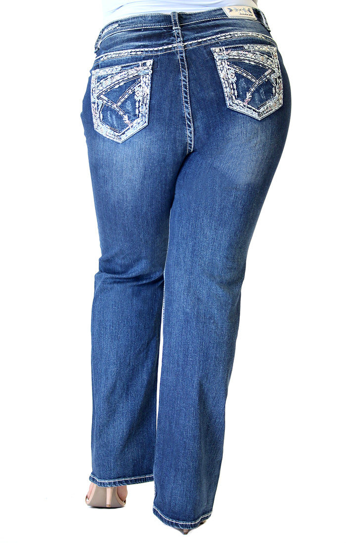 Stitched Embellished Plus Size Straight Jeans | PS-51519
