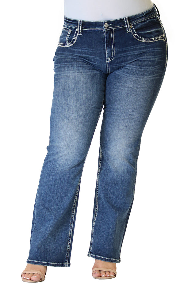 Western Longhorn Embellished Plus Size Bootcut Jeans | PB-51560