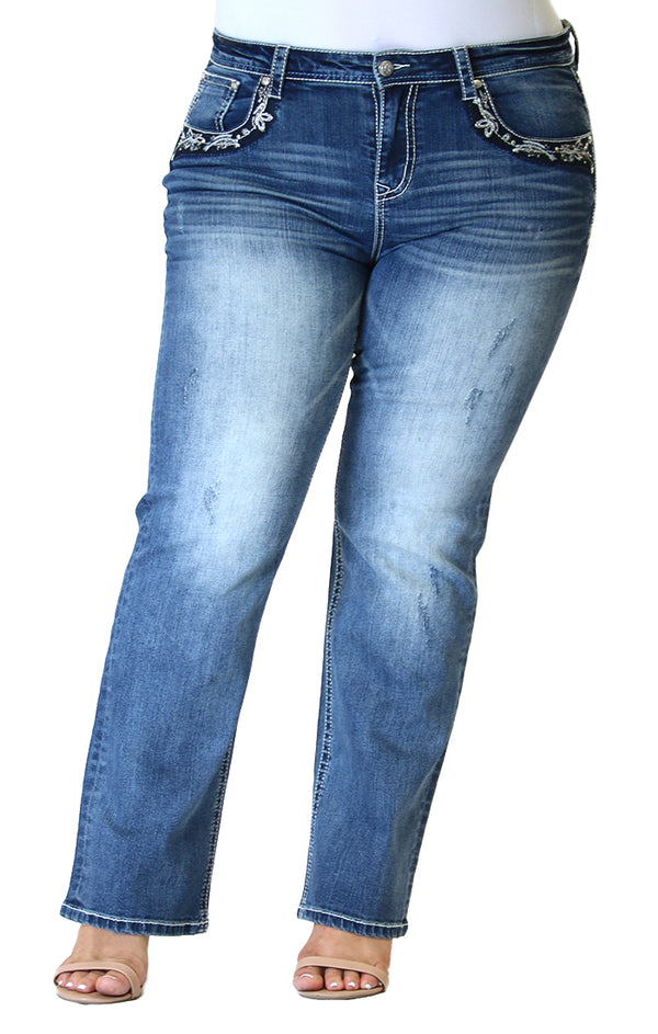Floral Flap Pocket Plus Size Straight Jeans | PS-51605-SL