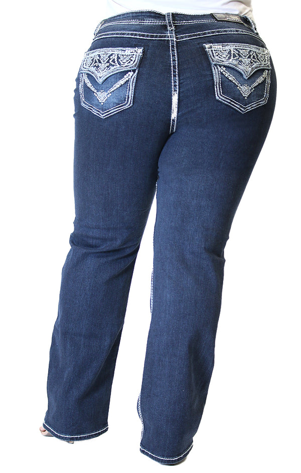 Aztec Embellished Flap Pocket Plus Size Straight Jeans | PS-61336