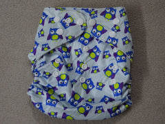 Naughty Baby BLUE OWL one size diaper cover 3-15 kg