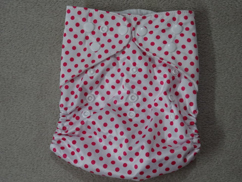 Naughty Baby PINK POLKA DOT one size diaper cover 3-15 kg