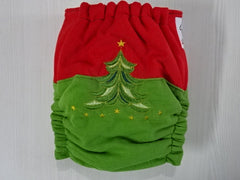 old cut FLUFFY - CHRISTMAS TREE Handmade custom embroidered fitted diaper One size fits 5-14 kg