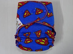 new cut FLUFFY - SUPERMAN Handmade fitted diaper One size fits 5-15+ kg, fleece lining
