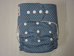 old cut FLUFFY - DOTS Handmade fitted diaper One size fits 5-15 kg, fleece lining, new style cotton inserts