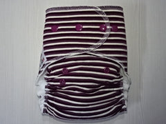 new cut FLUFFY - MAROON STRIPES Handmade fitted diaper One size fits 5-15+ kg, fleece lining