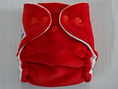 NEWBORN Hybrid: TOMATO Handmade newborn fitted diaper Fits from ~3-6 kg, cotton velour lining