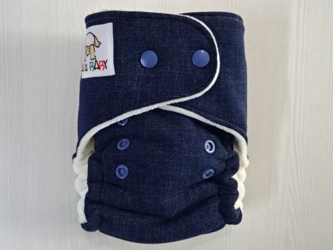 PETITE HYBRID - DENIM Handmade fitted diaper One size fits 4-11kg, Cotton Velour lining