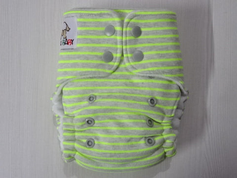 ORIGINAL one size FLUFFY - NEON STRIPES Handmade fitted diaper fits 5-15 kg, fleece lining