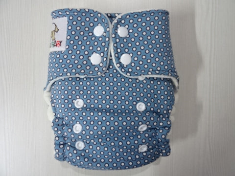 ORIGINAL one size HYBRID - BLUE DOTS Handmade fitted diaper fits 5-15 kg, cotton velour lining