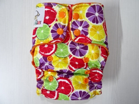 ORIGINAL one size HYBRID - ORANGES (O) Handmade fitted diaper fits 5-15 kg, cotton velvet lining