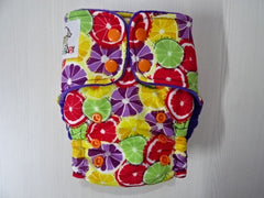ORIGINAL one size HYBRID - ORANGES (V) Handmade fitted diaper fits 5-15 kg, cotton velvet lining