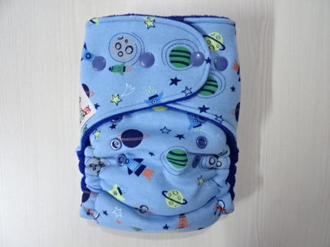 TODDLER one size FLUFFY - SPACE Handmade fitted diaper One size fits 8-15+ kg, fleece lining