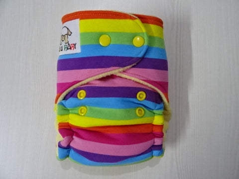 PETITE FLUFFY - RAINBOW STRIPES Handmade fitted diaper One size fits 4-11kg, fleece lining