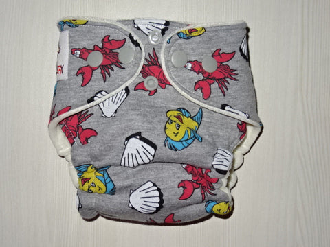 NEWBORN Hybrid: UNDER THE SEA Cotton velour lined handmade fitted diaper, ~3-7 kg
