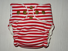 NEWBORN Hybrid: CANDY CANE Cotton velour lined handmade fitted diaper, ~3-7 kg