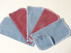 5 PCs DOTS cotton jersey double layer reusable wipes