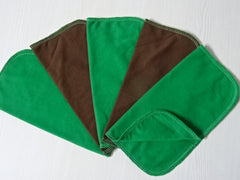 5 PCs GREEN&BROWN cotton jersey double layer reusable wipes