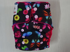 ORIGINAL one size FLUFFY - BUTTERFLY Handmade fitted diaper fits 5-15 kg, fleece lining