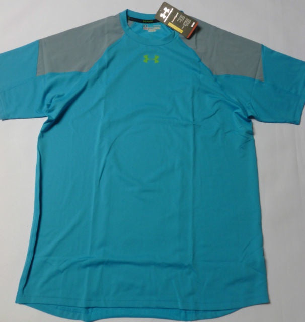 UNDER ARMOUR ENGAGE HEATGEAR S/S RUNNING TEE-BLUE/GREY