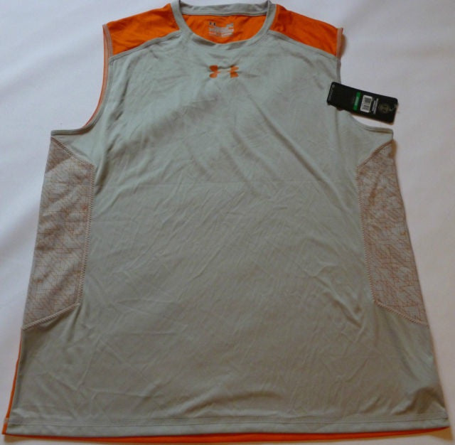 UNDER ARMOUR ETHER FITTED PRINTED SLEEVELESS RUNNING TEE-ORANGE/GREY