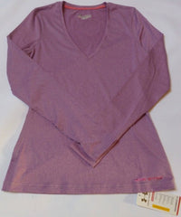 UNDER ARMOUR LADIES TOUCH EXERCISE/FITNESS LONG-SLEEVED V-NECK TEE-SIZE 12- MEDIUM-LILAC