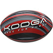 KOOGA WAVE GRIP RUGBY TRAINING BALL BLACK/RED/GREY SIZE 5