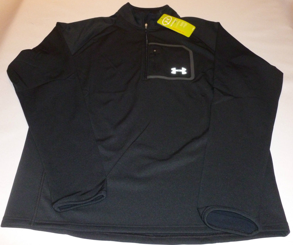 14a3a22f7 UNDER ARMOUR MENS 1/4 ZIP COLDGEAR CATALYST RUNNING JACKET-BLACK-LARGE -  BLK, M, LARGE