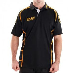 KOOGA JUNIOR PIPED TEAMWEAR MATCH/TRAINING RUGBY SHIRT BLACK/GOLD