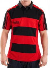 KOOGA JUNIOR HOOPED TEAMWEAR MATCH/TRAINING RUGBY SHIRT BLACK/RED
