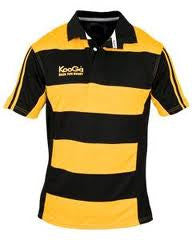 KOOGA HOOPED TEAMWEAR MATCH/TRAINING RUGBY SHIRT BLACK/GOLD