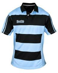 KOOGA JUNIOR HOOPED TEAMWEAR MATCH/TRAINING RUGBY SHIRT SKY/BLACK