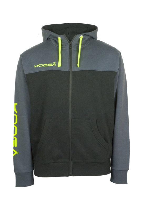 KOOGA CONTRAST MENS TRAINING/OFF FIELD ZIP THRU RUGBY HOODY BLACK