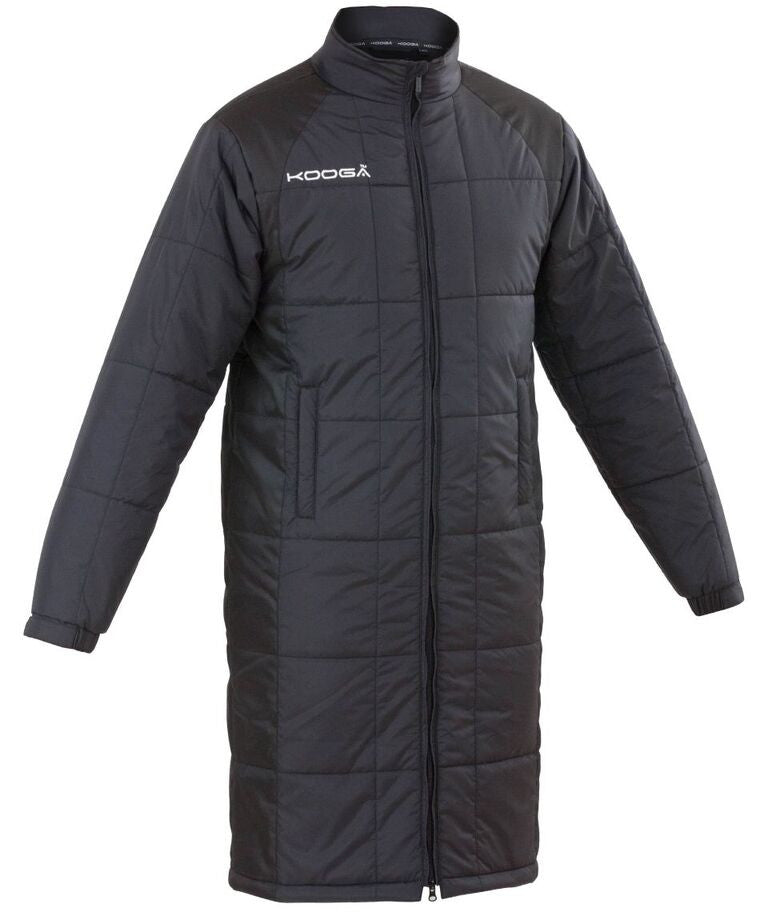 KOOGA MENS FULL LENGTH ELITE OFF FIELD BLACK RUGBY BENCH COAT