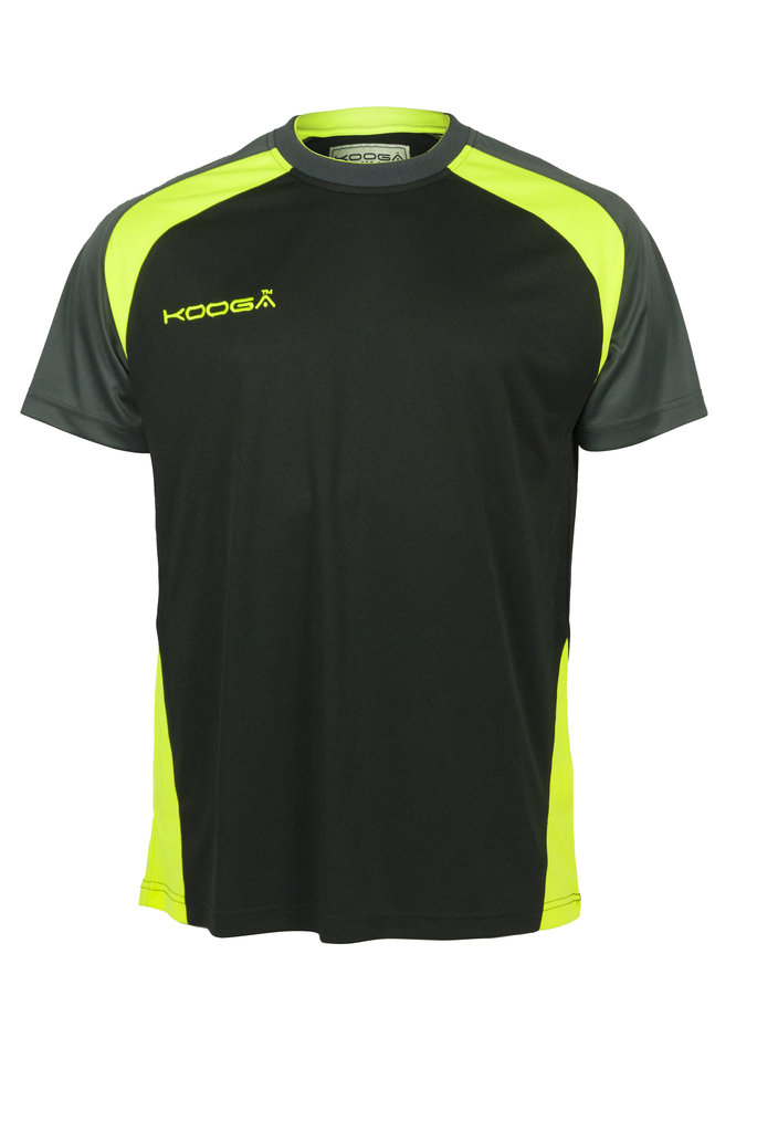 KOOGA MENS TRAINING/OFF FIELD RUGBY POLY PANEL TEE BLACK/VOLT