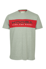 KOOGA LARGE LOGO MENS TRAINING/OFF FIELD RUGBY TEE GREY/RED