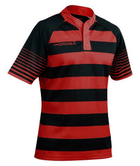 KOOGA HOOPED TEAMWEAR TOUCHLINE MATCH RUGBY SHIRT - BLACK/RED