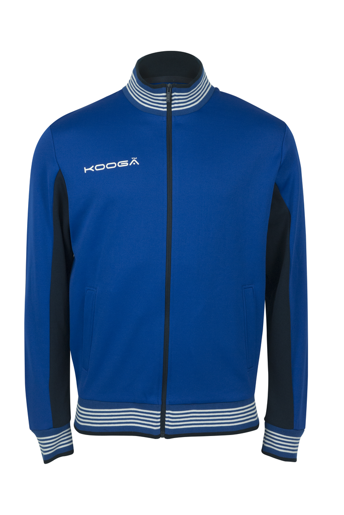 KOOGA MENS ZIP THRU TRAINING/OFF FIELD RUGBY RETRO TRACK TOP ROYAL