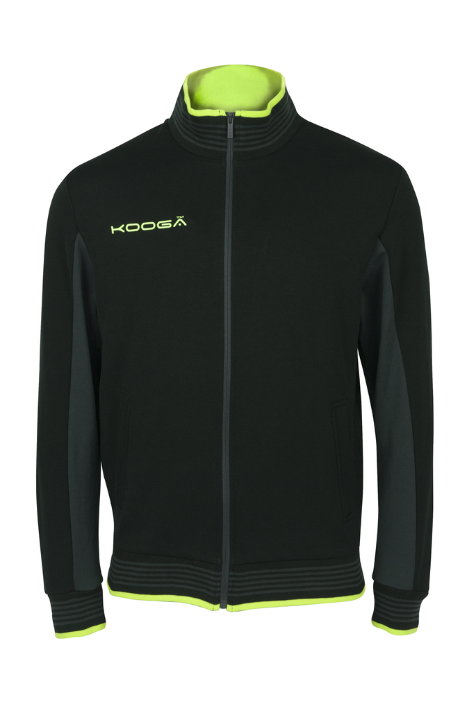 KOOGA MENS ZIP THRU TRAINING/OFF FIELD RUGBY RETRO TRACK TOP BLACK